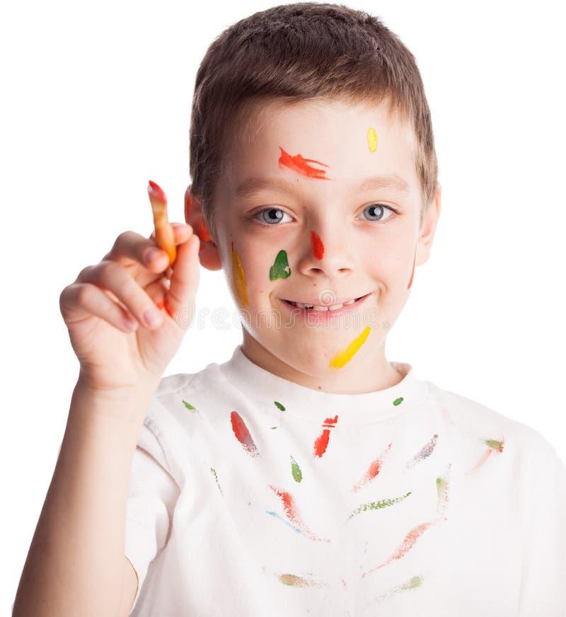 Παιδί με το πινέλο στοκ εικόνες