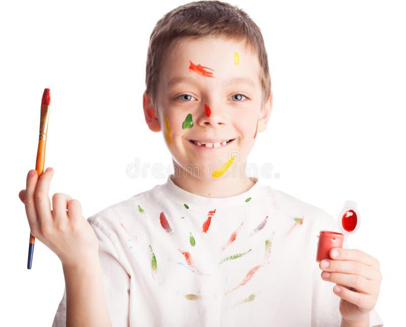 Παιδί με το πινέλο στοκ εικόνα με δικαίωμα ελεύθερης χρήσης