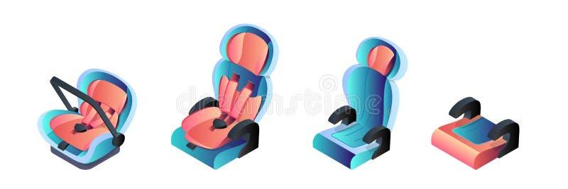 Παιδί, νήπιο και νεογέννητα καθίσματα αυτοκινήτων μωρών Απομονωμένα διάνυσμα εικονίδια κινούμενων σχεδίων Αυτοκινητική έννοια ταξ διανυσματική απεικόνιση