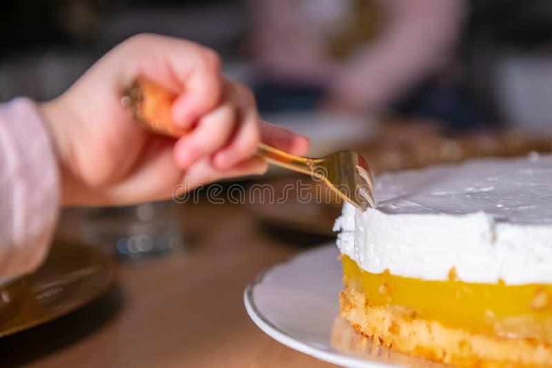 Παιδί που κλέβει ένα κομμάτι του κέικ στοκ φωτογραφία με δικαίωμα ελεύθερης χρήσης