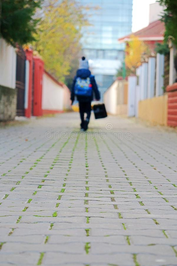 Παιδί που πηγαίνει στο σχολείο μια ηλιόλουστη ημέρα φθινοπώρου στοκ φωτογραφίες με δικαίωμα ελεύθερης χρήσης