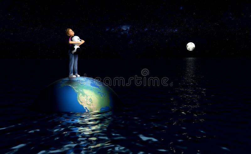 Παιδί που στέκεται στη γη στον ωκεανό ελεύθερη απεικόνιση δικαιώματος