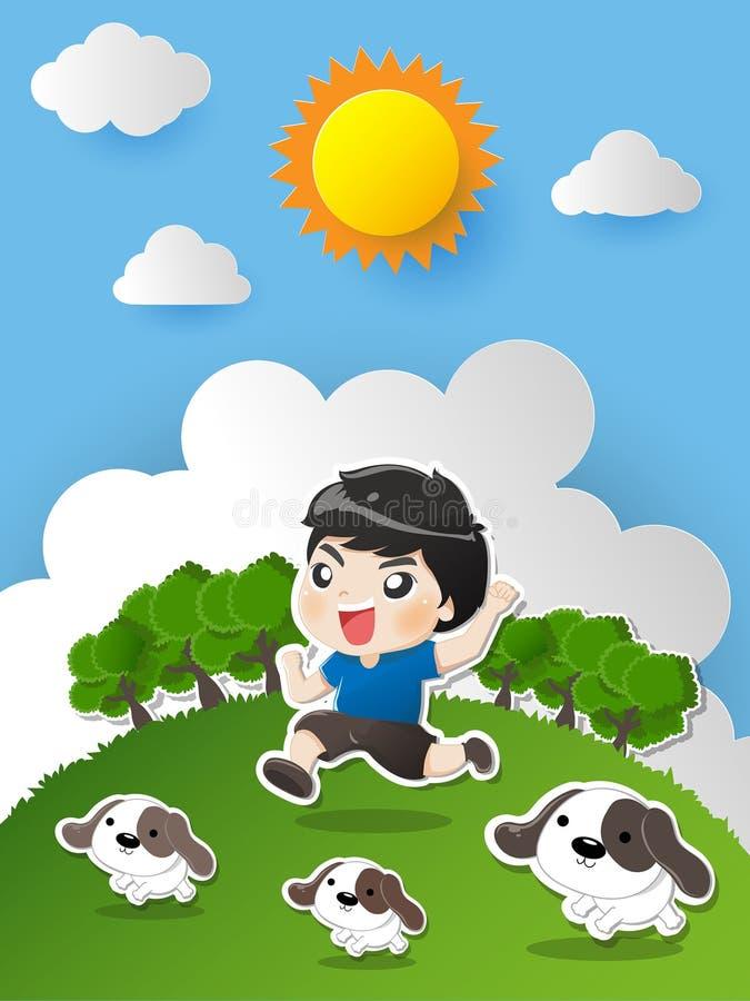 Παιδί που τρέχει στον κήπο με το σκυλί απεικόνιση αποθεμάτων