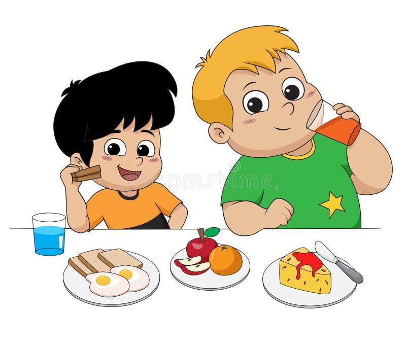 Παιδί που τρώει και που μιλά με τους φίλους διάνυσμα διανυσματική απεικόνιση