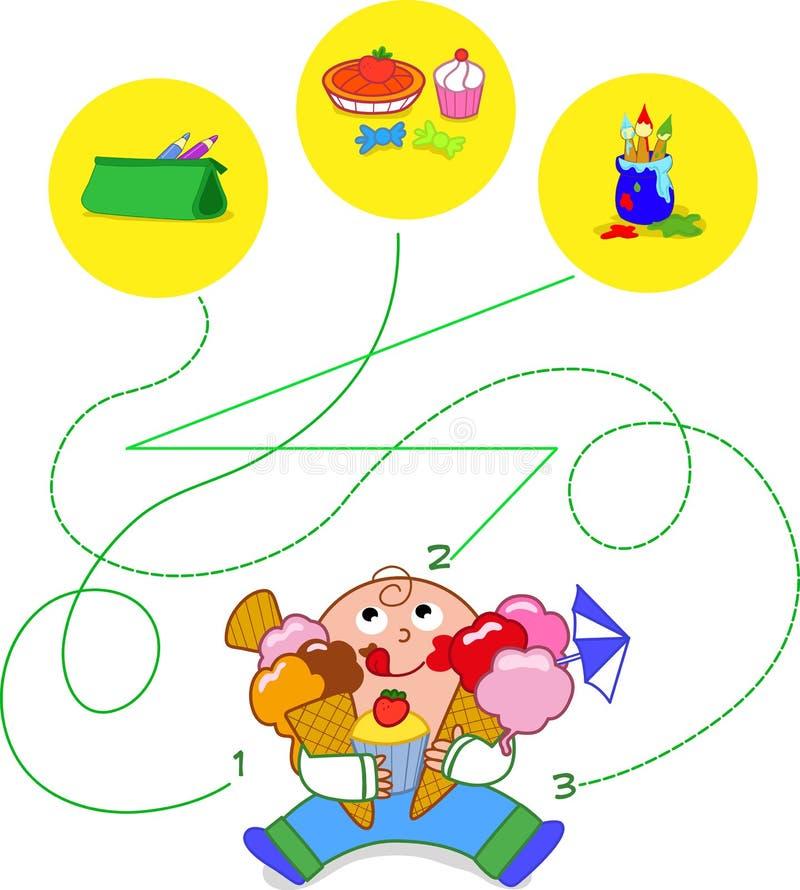 Παιδί που τρώει τα γλυκά - παιχνίδι Στοκ Εικόνες