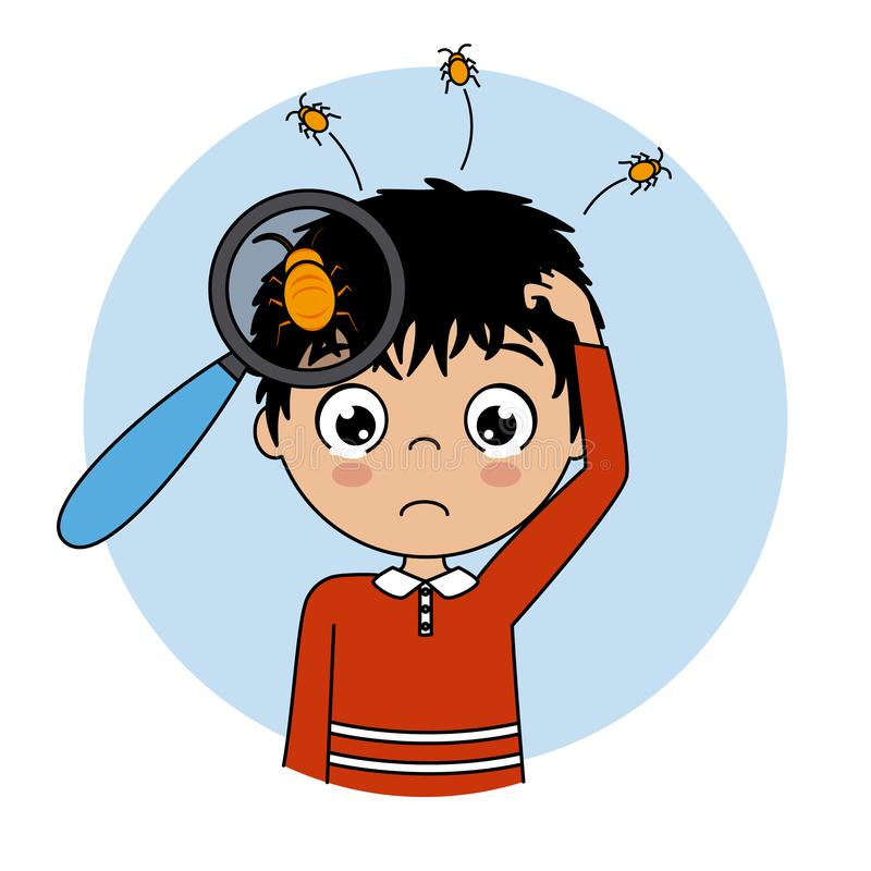 Παιδί που φωνάζει με τις ψείρες στο κεφάλι διανυσματική απεικόνιση