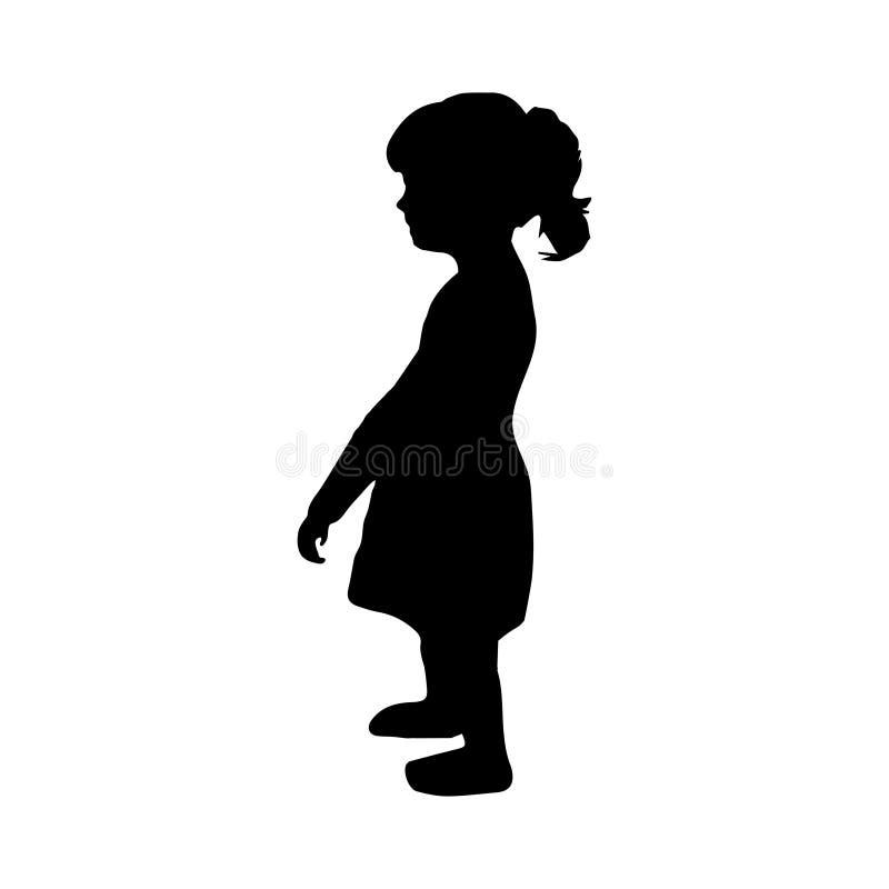Παιδί σκιαγραφιών, νήπιο ένα κορίτσι που στέκεται, διάνυσμα εικονίδιο κοριτσιών λίγ&alp ελεύθερη απεικόνιση δικαιώματος