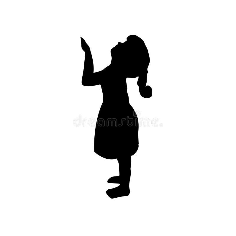Παιδί σκιαγραφιών, νήπιο ένα κορίτσι που στέκεται, διάνυσμα εικονίδιο κοριτσιών λίγ&alp διανυσματική απεικόνιση