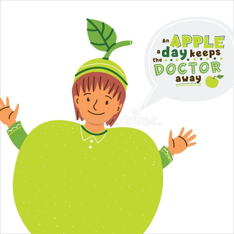 Παιδί στην απεικόνιση κοστουμιών μήλων απεικόνιση αποθεμάτων