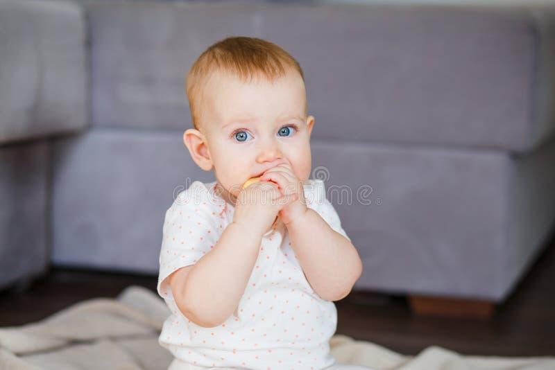 Παιδί Το όμορφο παιδί κινηματογραφήσεων σε πρώτο πλάνο τρώει την κίτρινη Apple και εξετάζει τη κάμερα Το μικρό κορίτσι προσπαθεί  στοκ εικόνες