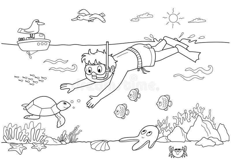 παιδί υποβρύχιο διανυσματική απεικόνιση