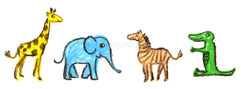 Παιδί ` s κραγιονιών κεριών που σύρεται του συνόλου ζώων Giraffe, το με ραβδώσεις, ο ελέφαντας και ο κροκόδειλος στο λευκό ελεύθερη απεικόνιση δικαιώματος
