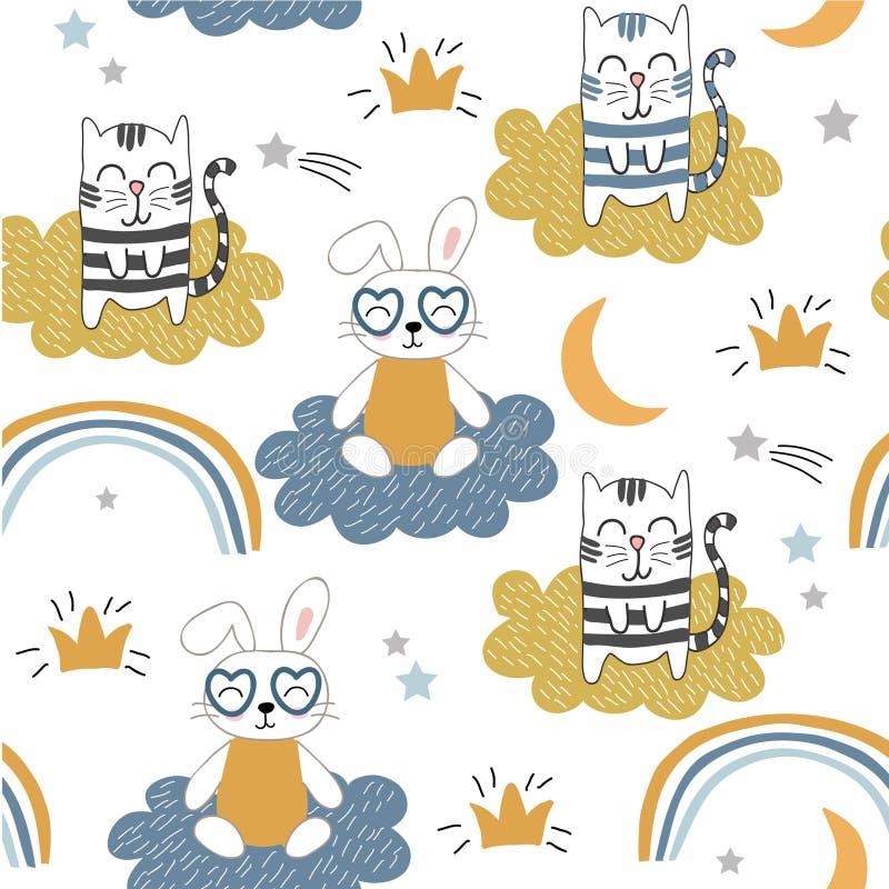 Παιδαριώδες άνευ ραφής σχέδιο με τις χαριτωμένα γάτες και το λαγουδάκι διανυσματικό υπόβαθρο για τα παιδιά, ύφασμα, υφαντικό, τυλ απεικόνιση αποθεμάτων