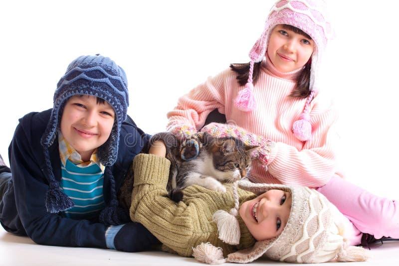 παιδιά γατών τους στοκ φωτογραφία