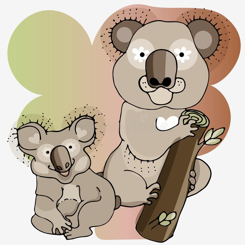 Παιδιά και γονείς στο ζωικό κόσμο koalas Το Koalas είναι χαριτωμένο στο ύφος κινούμενων σχεδίων ελεύθερη απεικόνιση δικαιώματος