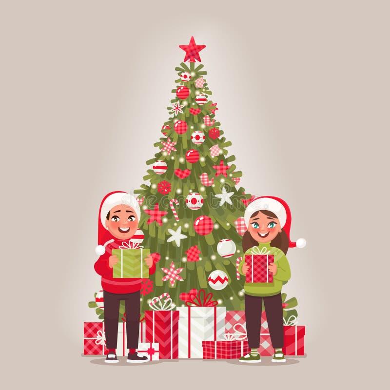 Παιδιά και διακοσμημένο χριστουγεννιάτικο δέντρο Ένα αγόρι και ένα κορίτσι είναι λαβή διανυσματική απεικόνιση