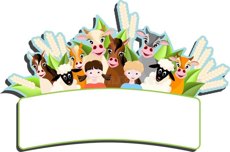 Παιδιά και ευτυχή ζώα αγροκτημάτων απεικόνιση αποθεμάτων