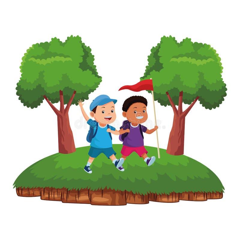 Παιδιά και κινούμενα σχέδια καλοκαιρινό εκπαιδευτικό κάμπινγκ απεικόνιση αποθεμάτων