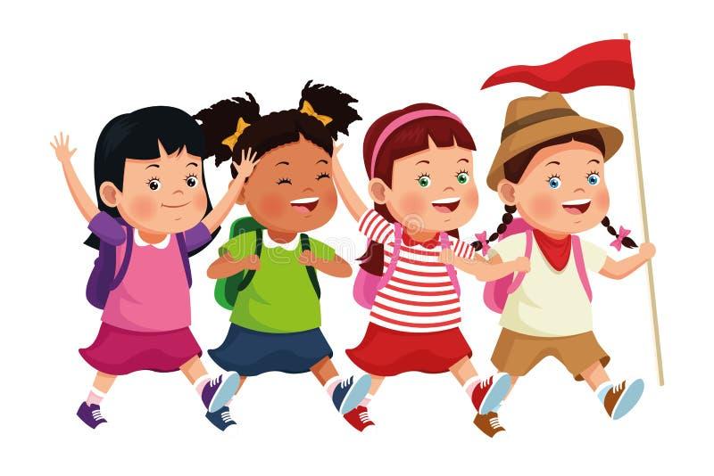 Παιδιά και κινούμενα σχέδια καλοκαιρινό εκπαιδευτικό κάμπινγκ διανυσματική απεικόνιση