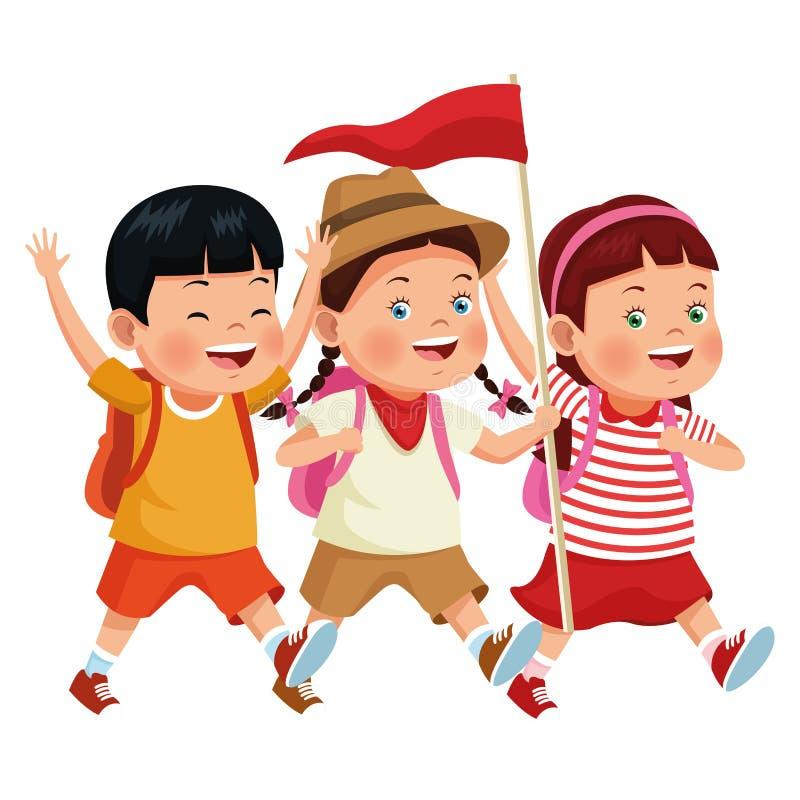 Παιδιά και κινούμενα σχέδια καλοκαιρινό εκπαιδευτικό κάμπινγκ ελεύθερη απεικόνιση δικαιώματος