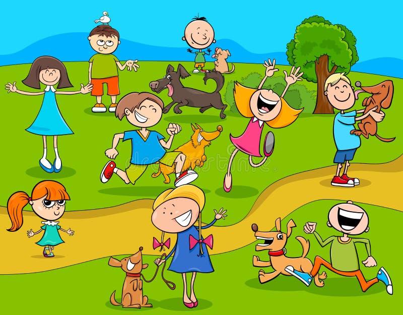 Παιδιά κινούμενων σχεδίων με τα σκυλιά στο πάρκο ελεύθερη απεικόνιση δικαιώματος