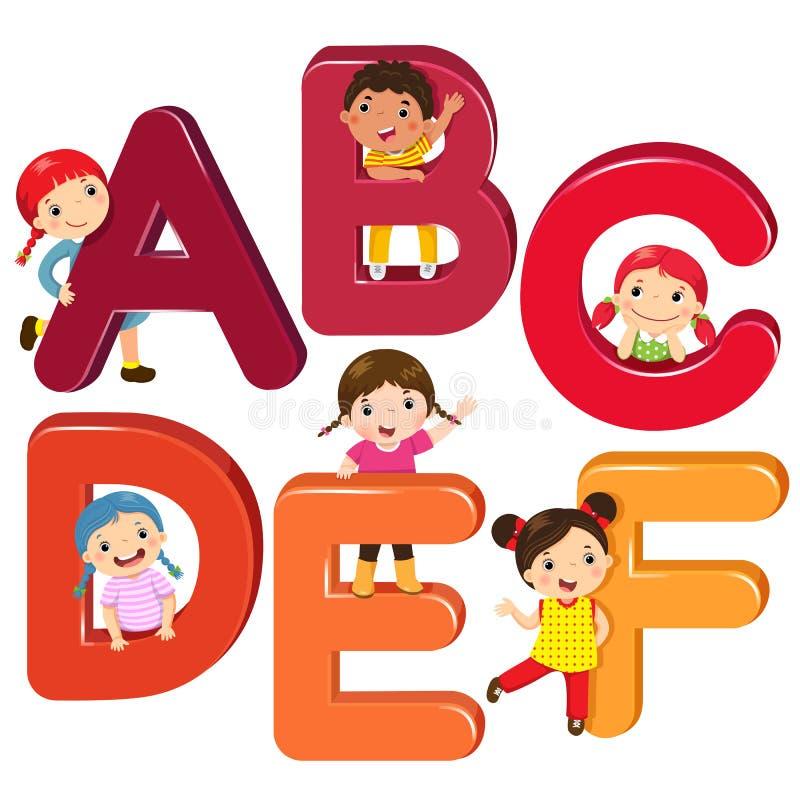Παιδιά κινούμενων σχεδίων με τις επιστολές ABCDEF διανυσματική απεικόνιση