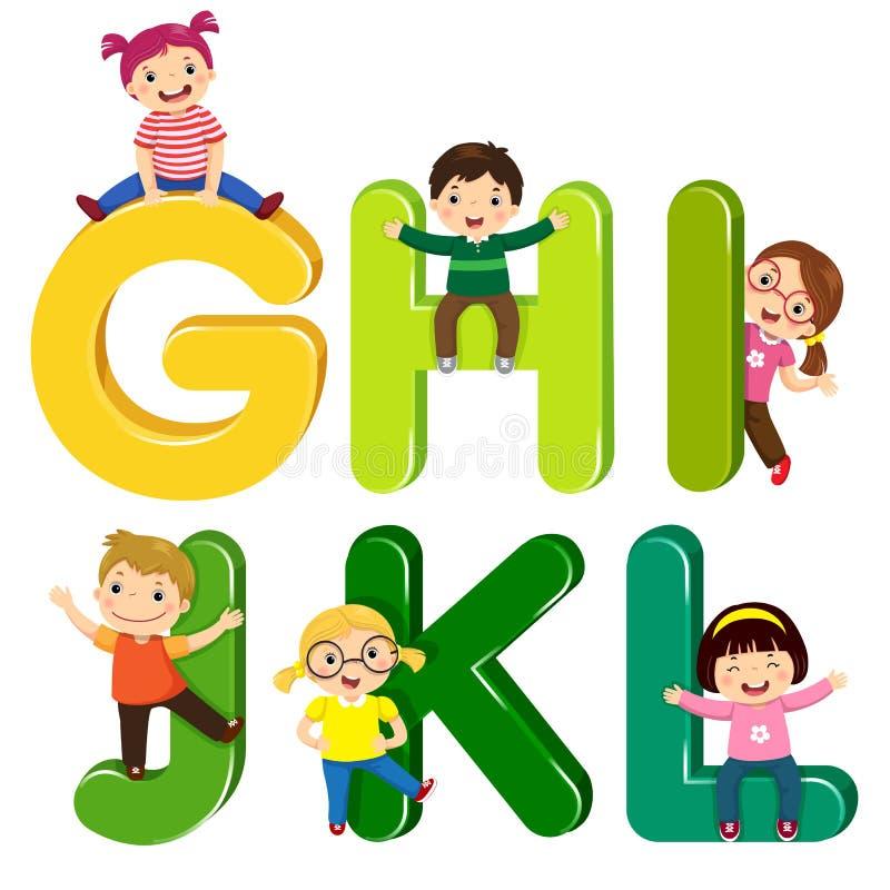 Παιδιά κινούμενων σχεδίων με τις επιστολές GHIJKL ελεύθερη απεικόνιση δικαιώματος
