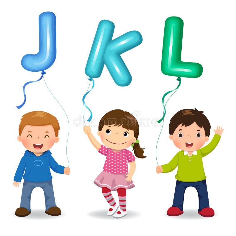 Παιδιά κινούμενων σχεδίων που κρατούν τα διαμορφωμένα JKL μπαλόνια επιστολών διανυσματική απεικόνιση
