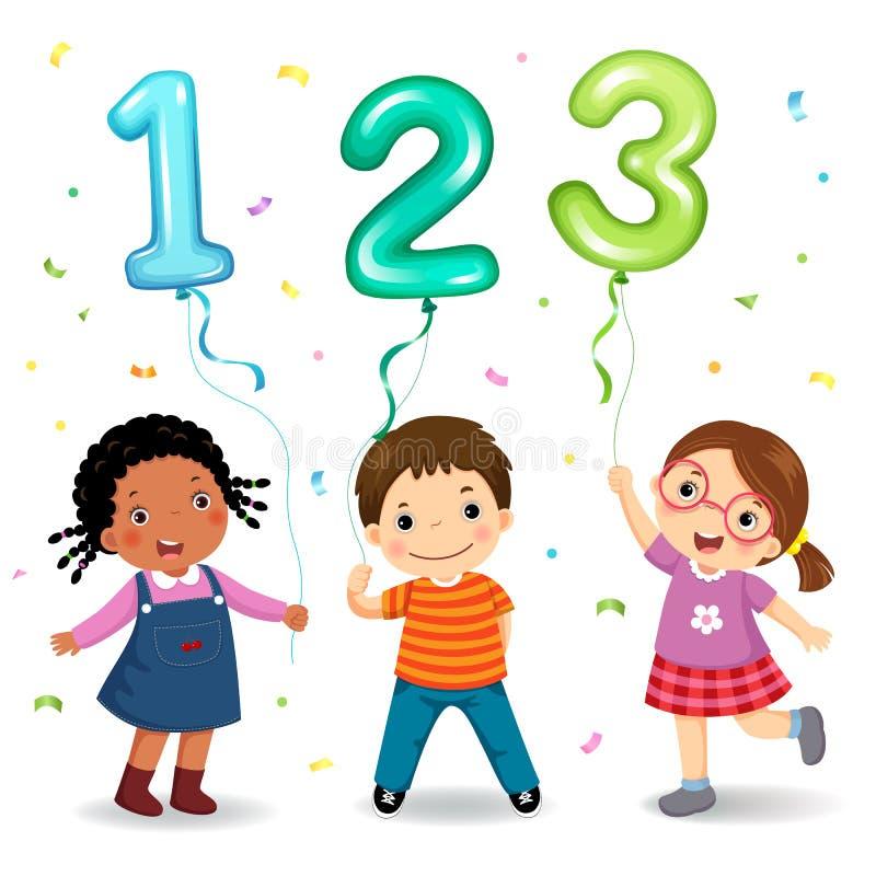 Παιδιά κινούμενων σχεδίων που κρατούν τον αριθμό 123 διαμορφωμένα μπαλόνια διανυσματική απεικόνιση