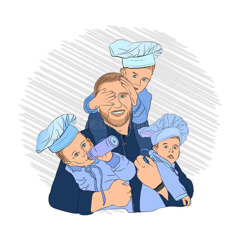 παιδιά μαγείρων μπαμπάς και τρία παιδιά του ελεύθερη απεικόνιση δικαιώματος