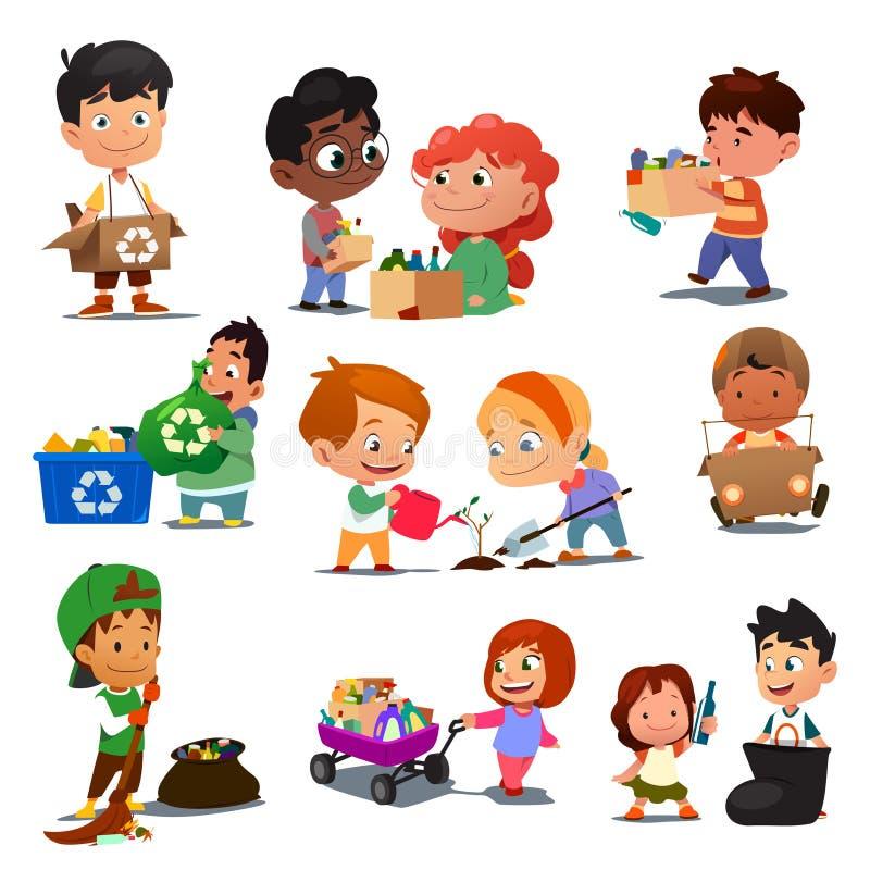 Παιδιά που ανακυκλώνουν την απεικόνιση απεικόνιση αποθεμάτων