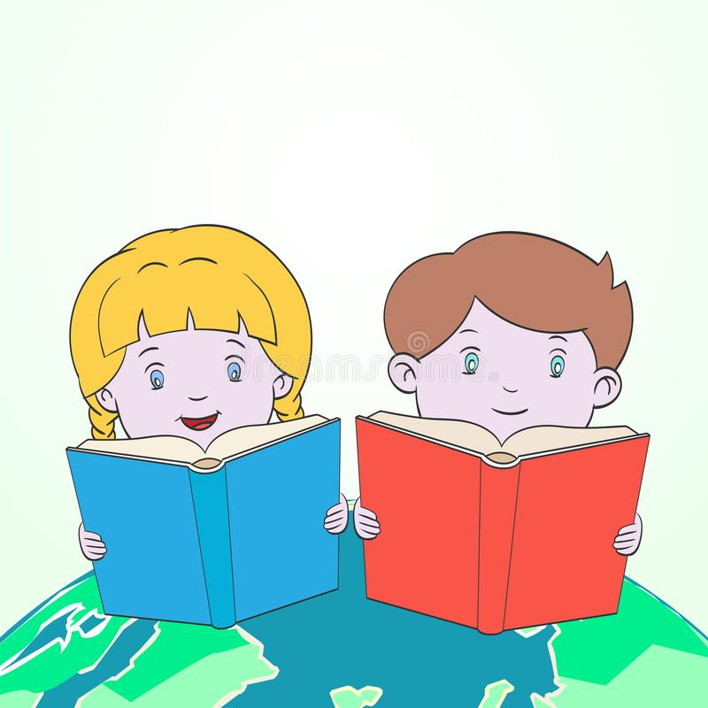 Παιδιά που διαβάζουν στο διάνυσμα κινούμενων σχεδίων παγκόσμιων χαρτών απεικόνιση αποθεμάτων