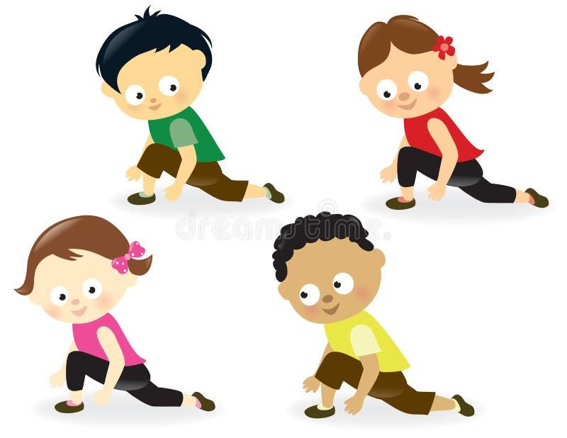 Παιδιά που κάνουν τα τεντώματα ποδιών απεικόνιση αποθεμάτων