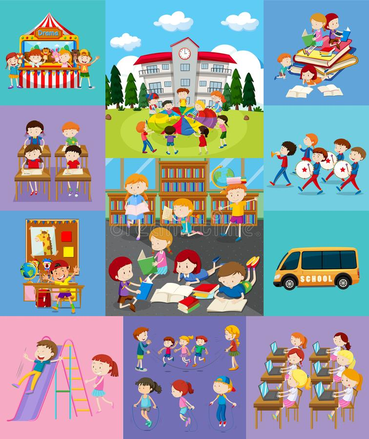 Παιδιά που κάνουν τις διαφορετικές δραστηριότητες στο σχολείο διανυσματική απεικόνιση