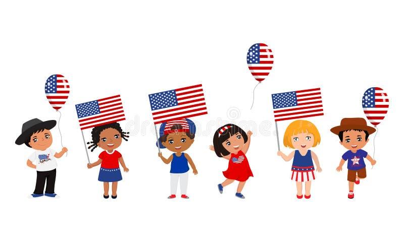 Παιδιά που κρατούν τις ΑΜΕΡΙΚΑΝΙΚΑ σημαίες και τα μπαλόνια r r διανυσματική απεικόνιση