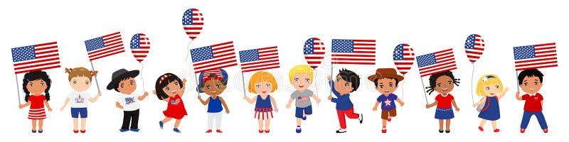 Παιδιά που κρατούν τις ΑΜΕΡΙΚΑΝΙΚΑ σημαίες και τα μπαλόνια r r απεικόνιση αποθεμάτων