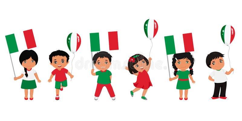 Παιδιά που κρατούν τις ιταλικές σημαίες r Πρότυπο σύγχρονου σχεδίου διανυσματική απεικόνιση