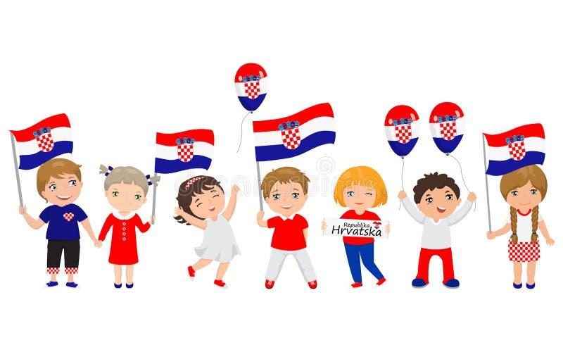 Παιδιά που κρατούν τις κροατικά σημαίες και τα μπαλόνια επίσης corel σύρετε το διάνυσμα απεικόνισης σύγχρονο πρότυπο σχεδίο&upsil ελεύθερη απεικόνιση δικαιώματος
