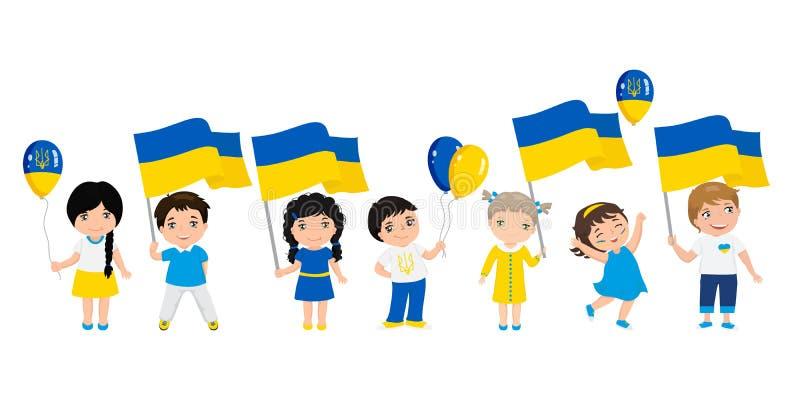 Παιδιά που κρατούν τις σημαίες και τα μπαλόνια της Ουκρανίας Πρότυπο σύγχρονου σχεδίου για τη ευχετήρια κάρτα r ελεύθερη απεικόνιση δικαιώματος