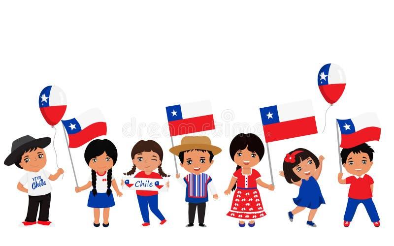 Παιδιά που κρατούν τις σημαίες της Χιλής επίσης corel σύρετε το διάνυσμα απεικόνισης σύγχρονο πρότυπο σχεδίο&upsil ελεύθερη απεικόνιση δικαιώματος