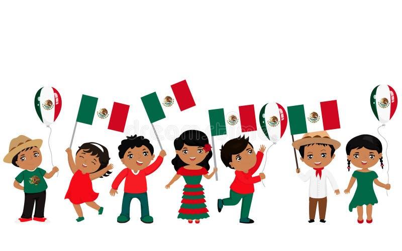 Παιδιά που κρατούν τις σημαίες του Μεξικού επίσης corel σύρετε το διάνυσμα απεικόνισης σύγχρονο πρότυπο σχεδίο&upsil διανυσματική απεικόνιση