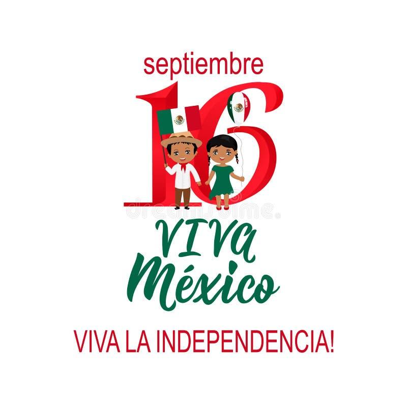 Παιδιά που κρατούν τις σημαίες του Μεξικού Μεξικάνικη μετάφραση: 16ος του Σεπτεμβρίου Ευτυχής ημέρα της ανεξαρτησίας Viva Μεξικό διανυσματική απεικόνιση