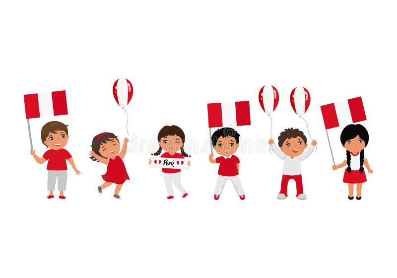 Παιδιά που κρατούν τις σημαίες του Περού r r διανυσματική απεικόνιση