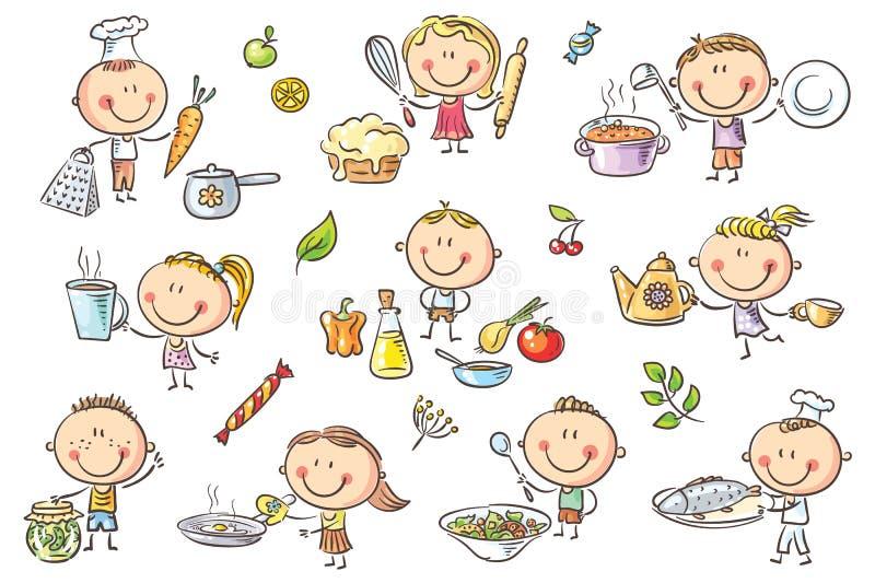Παιδιά που μαγειρεύουν το σύνολο απεικόνιση αποθεμάτων