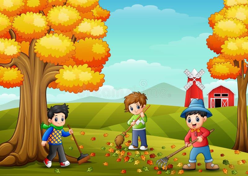 Παιδιά που μαζεύουν με τη τσουγκράνα τα φύλλα στο αγροτικό ναυπηγείο κατά τη διάρκεια της εποχής πτώσης απεικόνιση αποθεμάτων