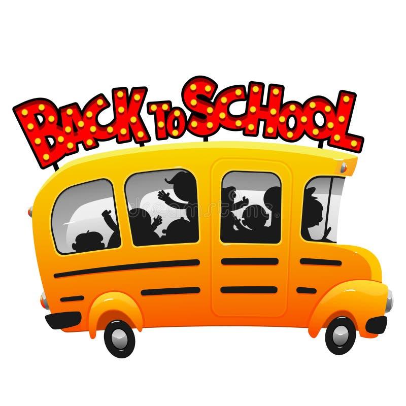 Παιδιά που οδηγούν στο σχολικό λεωφορείο διασκέδασης κινούμενων σχεδίων ελεύθερη απεικόνιση δικαιώματος