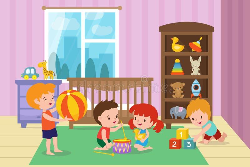 Παιδιά που παίζουν με τα παιχνίδια στο χώρο για παιχνίδη της διανυσματικής απεικόνισης παιδικών σταθμών ελεύθερη απεικόνιση δικαιώματος