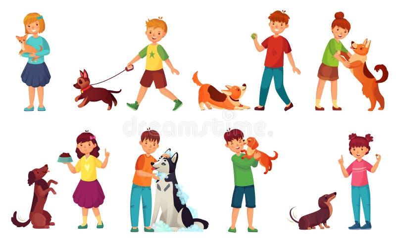 Παιδιά που παίζουν με τα σκυλιά Ταΐζοντας σκυλί παιδιών, προσοχή ζώων κατοικίδιων ζώων και παιδί που περπατούν με τη χαριτωμένη δ διανυσματική απεικόνιση