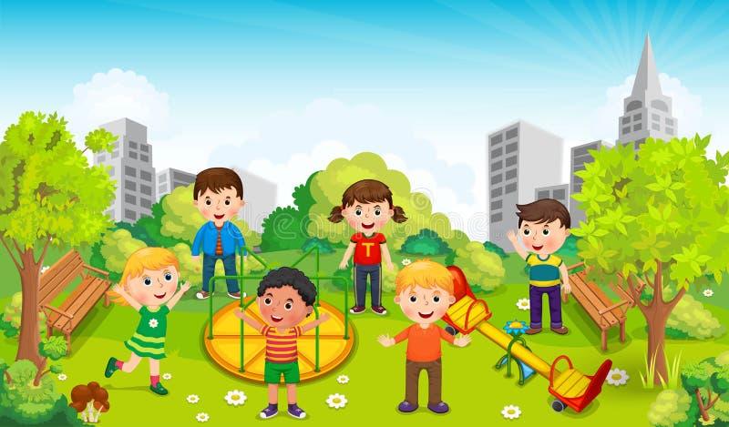 Παιδιά που παίζουν στη μέση του πάρκου ενάντια στο σκηνικό της πόλης διάνυσμα ελεύθερη απεικόνιση δικαιώματος