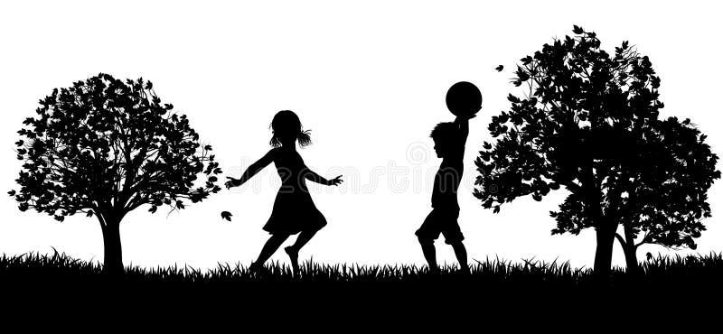 Παιδιά που παίζουν στη σκιαγραφία πάρκων απεικόνιση αποθεμάτων